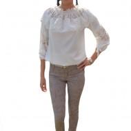 Pantalon lung de vara, de culoare bej, cu model de flori mari