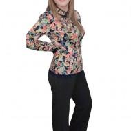 Pantalon lung masura mare, realizat din material cu dungi lucioase