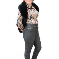 Pantalon tineresc gri, din material gros cu imprimeu de carouri