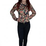 Pantalon trendy, nuanta de bleumarin, design floral modern