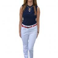 Pantaloni dama albi cu strasuri colorate