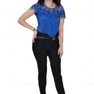 Pantaloni Nova cu aplicatii de strasuri ,nuanat de negru