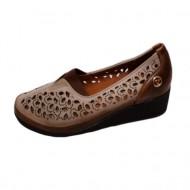 Pantof confortabil de primavara-vara, nuanta maro, cu perforatii