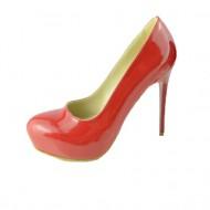 Pantof de culoare rosie, cu platforma ascunsa si toc subtire