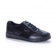 Pantof de dama tip sport, culoare neagra cu design de buline
