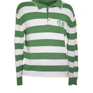 Pulover calduros de barbati, nuanta de verde-alb, imprimeu dungat