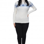 Pulover tricotat Evelin,imprimeu cu motive Christmas,alb
