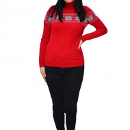 Pulover tricotat Evelin,imprimeu cu motive Christmas,rosu