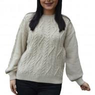 Pulover tricotat Lara cu model rafinat,impletit ,nuanta de bej