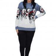 Pulover tricotat Paula,model cu lupi,albastru