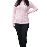 Pulover tricotat Senna,model 3D,roz