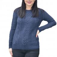 Pulover tricotat Tannia ,model desoebit ,3D,bleumarin