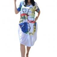 Rochie Agnette, din bumbac, model cu cercuri, nuanta alb