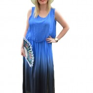 Rochie albastra confortabila, masura mare, din material vaporos