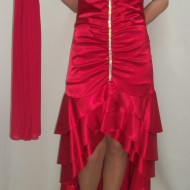 Rochie asimetrtica de culoare rosie