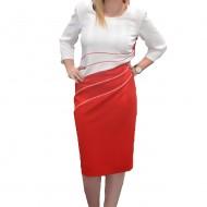Rochie chic, in doua nuante, rosu si alb, masuri mari