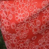 Rochie corai cu buline albe si imprimeu floral alb-corai