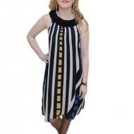 Rochie cu design dungat, nuanta de negru-alb, decolteu rotund