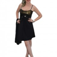Rochie de banchet, de culoare neagra-aurie, scurta