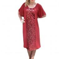 Rochie de culoare marsala, din dantela si voal cu maneca scurta
