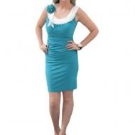 Rochie de culoare turcoaz din material elastic, cambrata pe corp