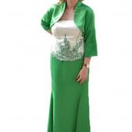 Rochie de gala superba, din trei piese, in nuante de verde cu alb