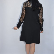 Rochie de ocazie Astrid cu insertii de strasuri pe dantela,neagra