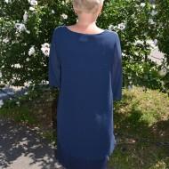 Rochie de ocazie, bleumarin, vaporoasa, din voal si dantela argintie