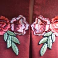 Rochie de ocazie cu broderie florala aplicata, nuanta de visiniu