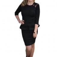 Rochie de ocazie de culoare neagra, model scurt cu croi cambrat