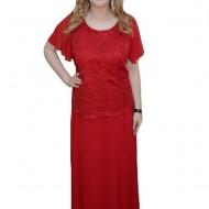 Rochie de ocazie, de culoare rosie, din voal si dantela brodata