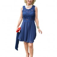 Rochie de seara bleumarin, model scurt cu dantela si voal