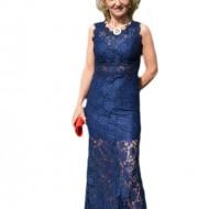 Rochie de seara din dantela bleumarin, model lung usor evazat