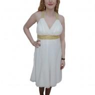 Rochie de seara, nuanta de alb, detalii aurii aplicate in talie