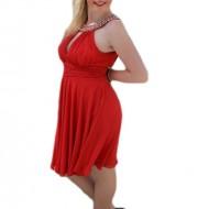 Rochie de seara scurta, pe culoare rosie cu insertii de strasuri