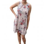 Rochie de vara Aase cu aplicatii de voal si imprimeu floral,nuanta de pudra