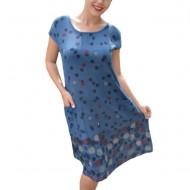 Rochie de vara,Gieda ,imprimeu cu buline,material elastic pe margine,nuanta albastru inchis