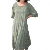 Rochie de vara Mira cu textura vaporoasa,nuanta de kaki
