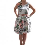 Rochie de vara multicolora cu imprimeu floral realist