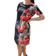 Rochie de zi,Agace ,imprimeu cu maci,nuanta de negru