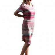Rochie de zi cu croi simplu, fashion, cu design de dungi colorate