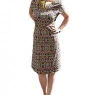 Rochie de zi, multicolor, cu imprimeu abstract, masura mare