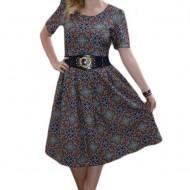 Rochie de zi, multicolora, imprimeu realizat din model abstract