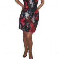 Rochie de zi, scurta, imprimeu interesant, in nuante de negru-rosu