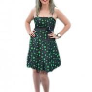 Rochie deosebita, cu buline verzi pe fond negru, model evazat
