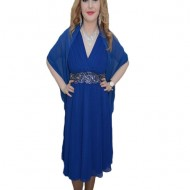 Rochie deosebita, nuanta de albastru, design interesant in talie