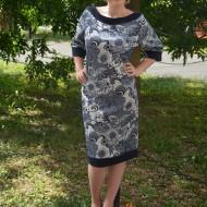 Rochie din jerse, de culoare bleumarin, imprimeu modern