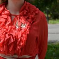 Rochie din voal corai cu buline, tunica
