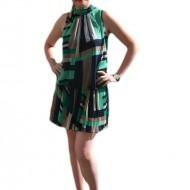 Rochie din voal subtire cu imprimeu abstract verde-bleumarin- bej