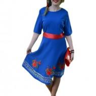 Rochie eleganta, albastra, broderie florala si bordura dantelata
